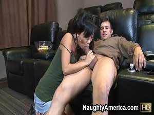 Asa Akira fucks her sister`s friend in a home movie theater.